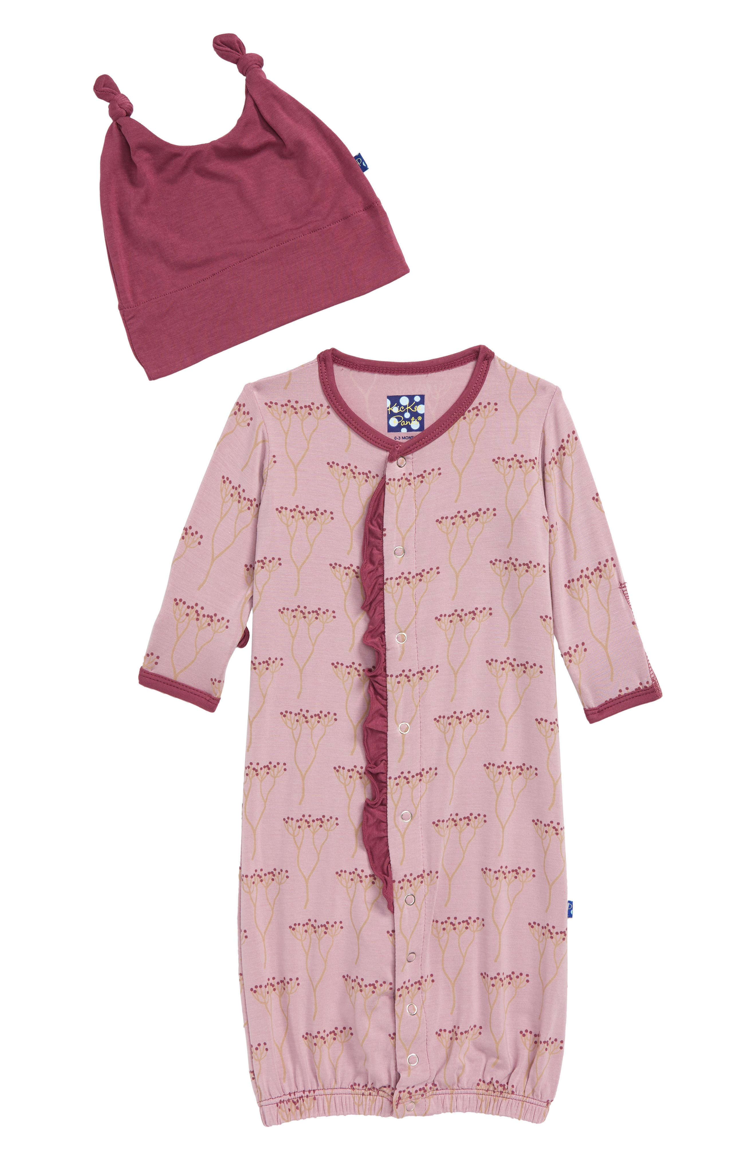 Infant Girls Kickee Pants Convertible Gown  Knot Hat Set Size 36M  Pink