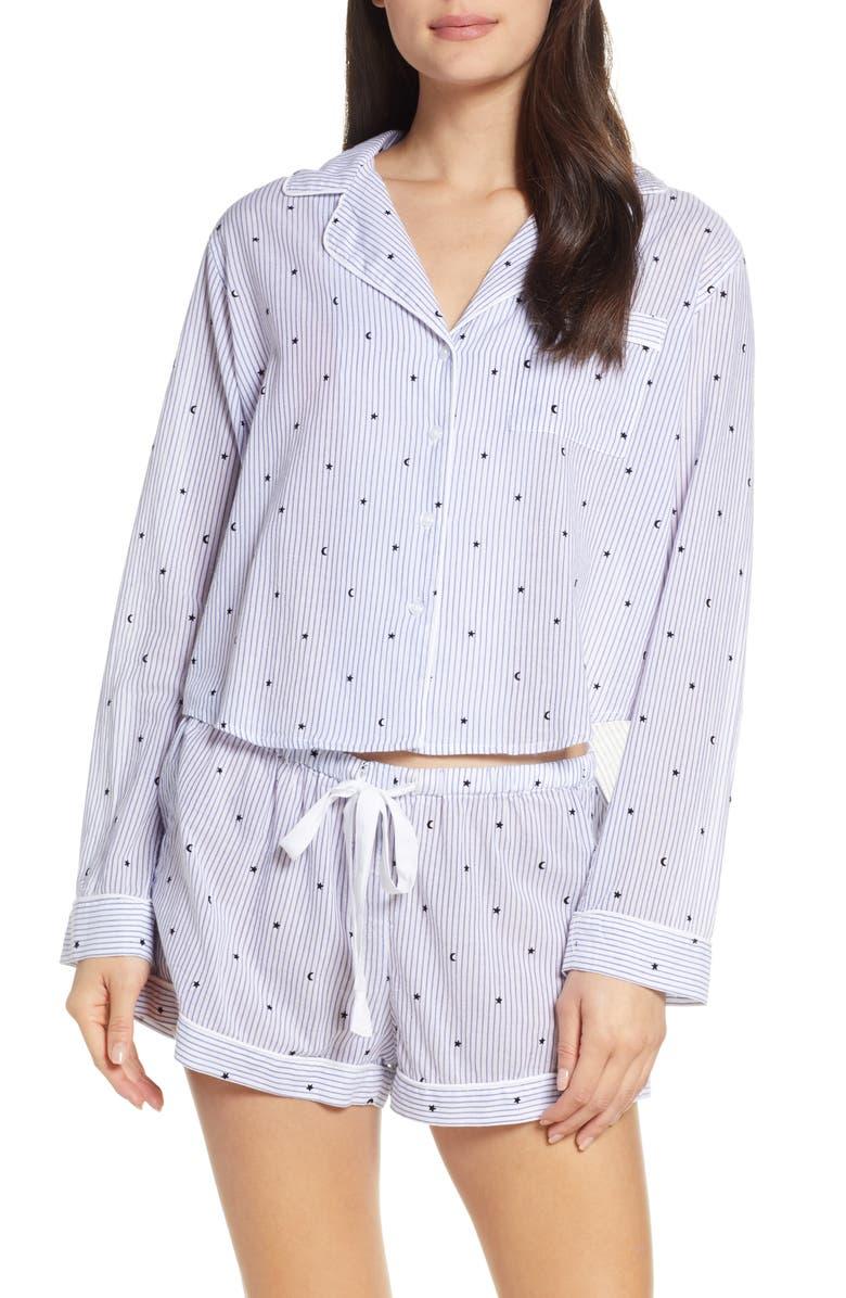 RAILS Print Short Pajamas, Main, color, FLOCKED MOONS AND STARS
