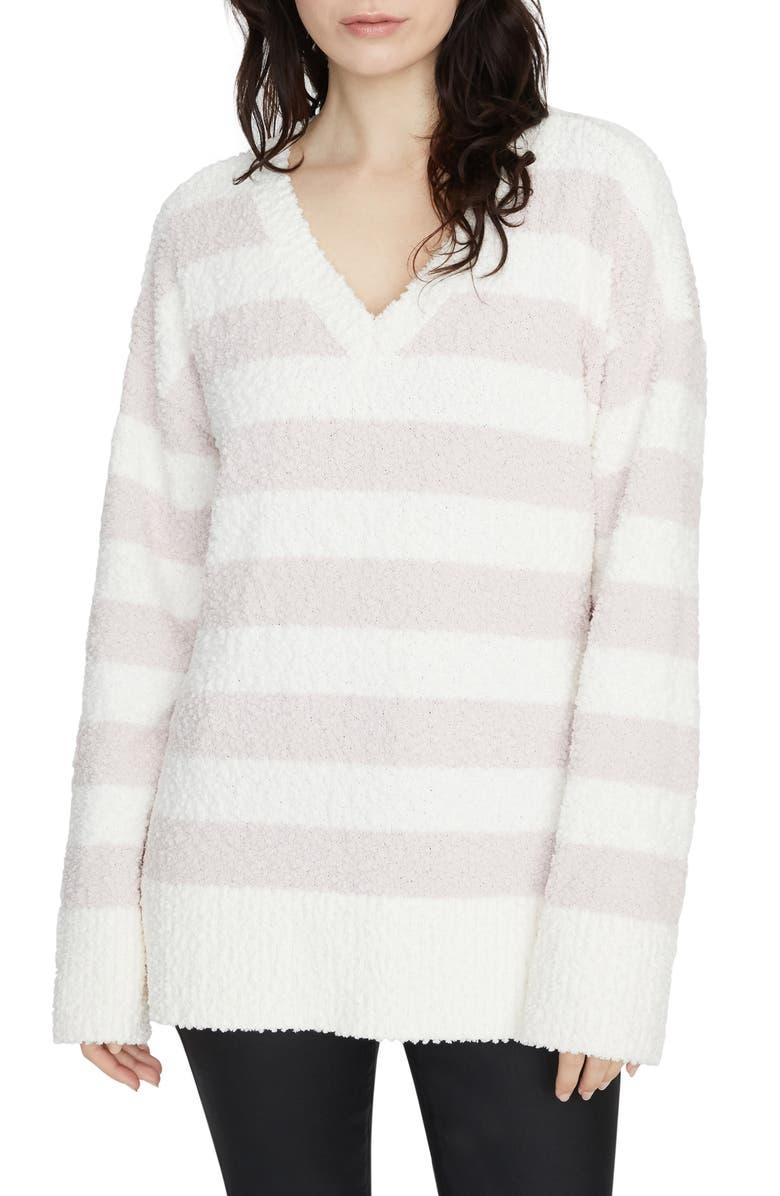SANCTUARY V-Neck Teddy Sweater, Main, color, CLOUD/ LIGHT PERAL STRIPE