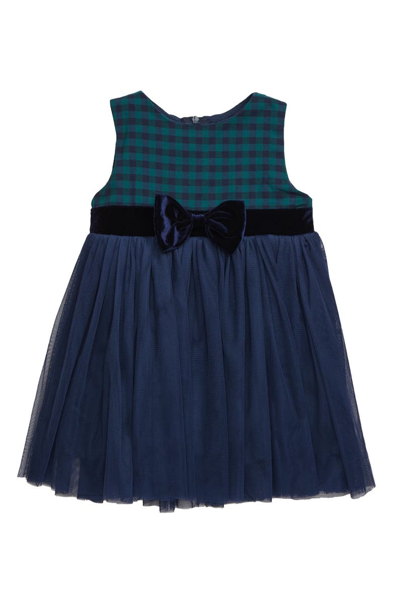POPATU Check Sleeveless Tulle Dress, Main, color, NAVY