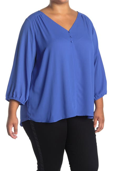 Image of Collective Concepts 3/4 Sleeve V-Neck Woven Top