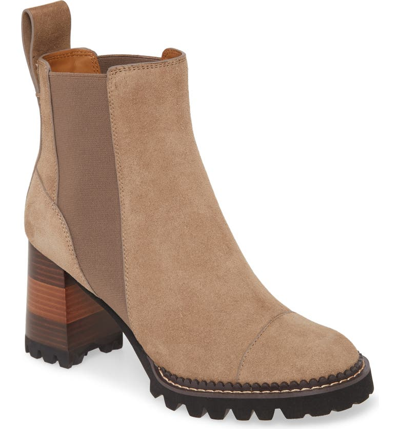 SEE BY CHLOÉ Mallory Block Heel Bootie, Main, color, TAUPE