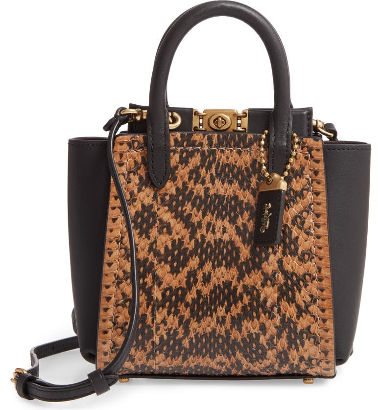 COACH Troupe Genuine Snakeskin & Leather Tote, Main, color, 012