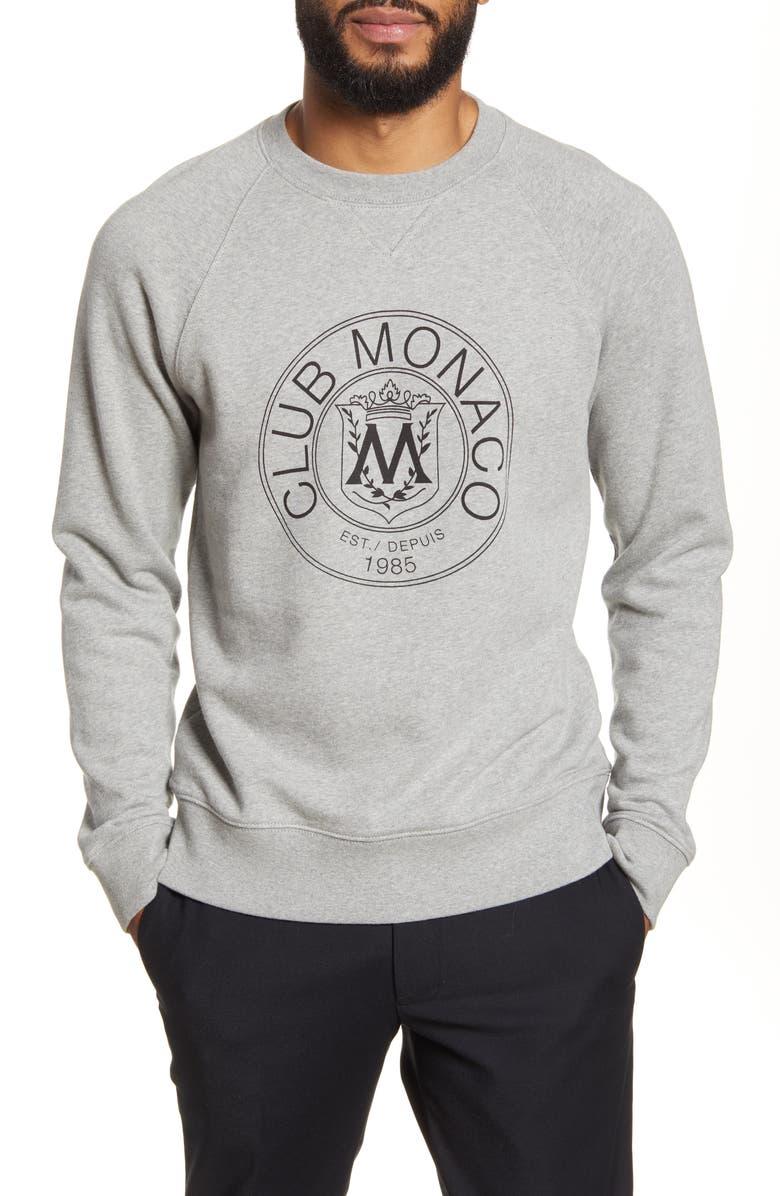 CLUB MONACO Crest Sweatshirt, Main, color, HEATHER GREY