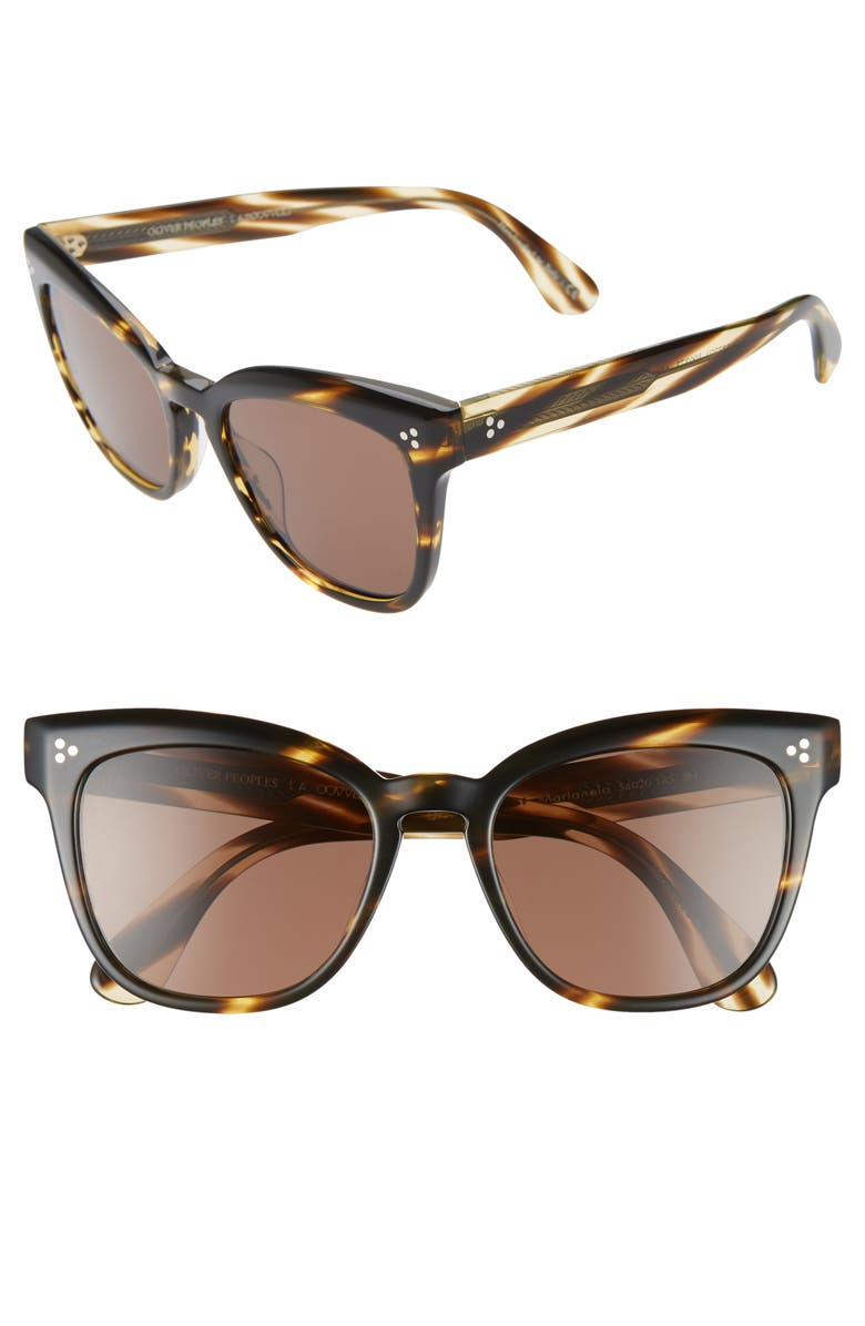 OLIVER PEOPLES Marianela 54mm Cat Eye Sunglasses, Main, color, HAVANA / DARK BROWN