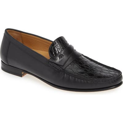 Mezlan Sica Crocodile Leather Penny Loafer, Black