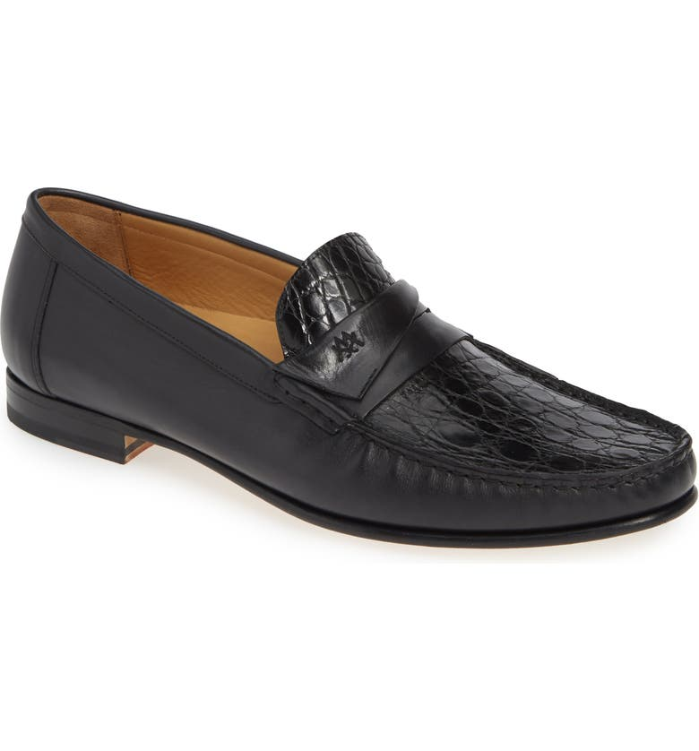 MEZLAN Sica Penny Loafer, Main, color, BLACK CROCODILE LEATHER