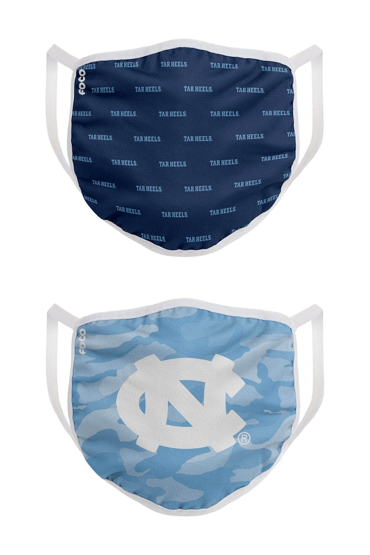 Image of FOCO NCAA North Carolina Clutch Printed Face Cover - Pack of 2