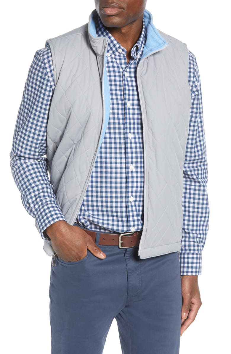 PETER MILLAR All Day Reversible Quilted Vest, Main, color, GALE GREY