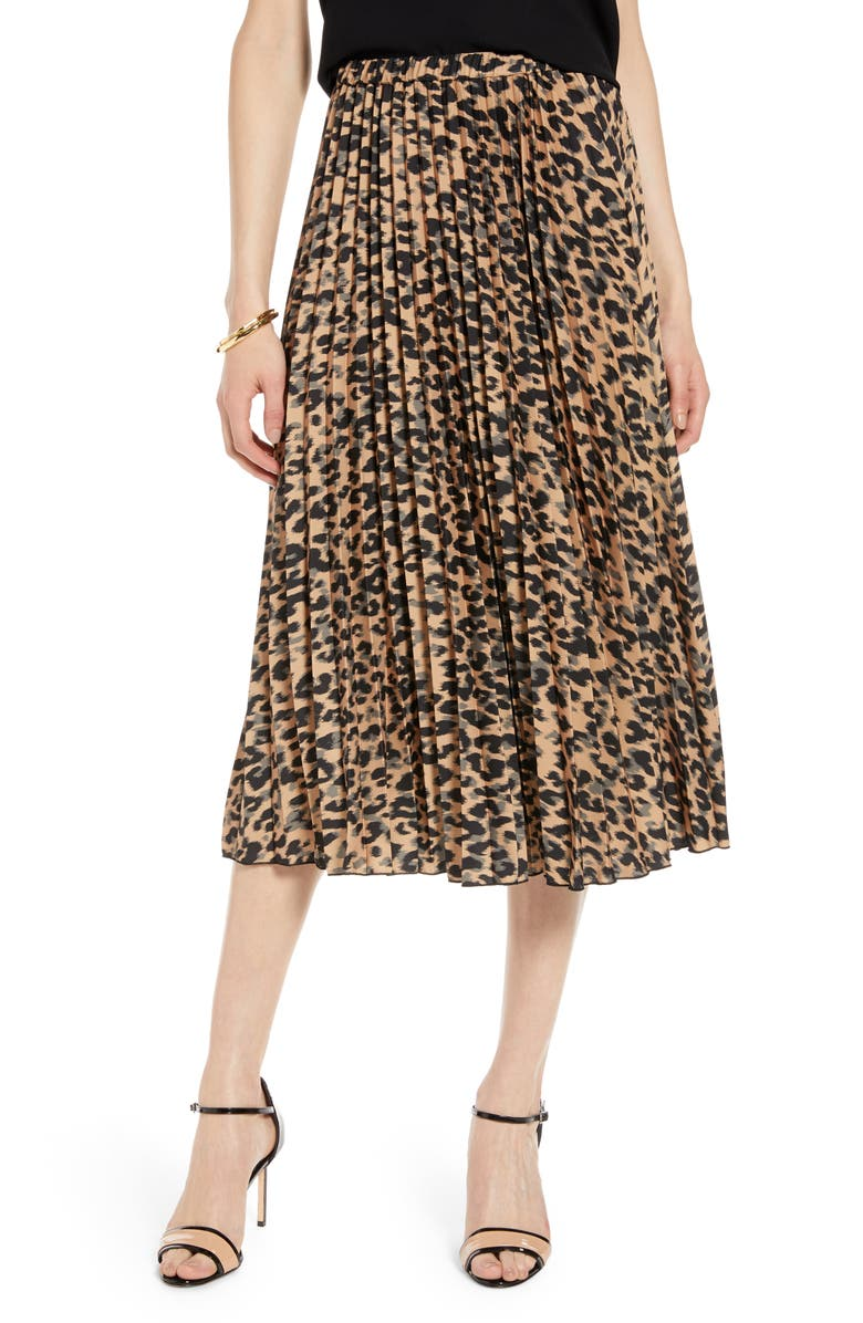HALOGEN<SUP>®</SUP> Pleated Midi Skirt, Main, color, TAUPE ANIMAL PRINT