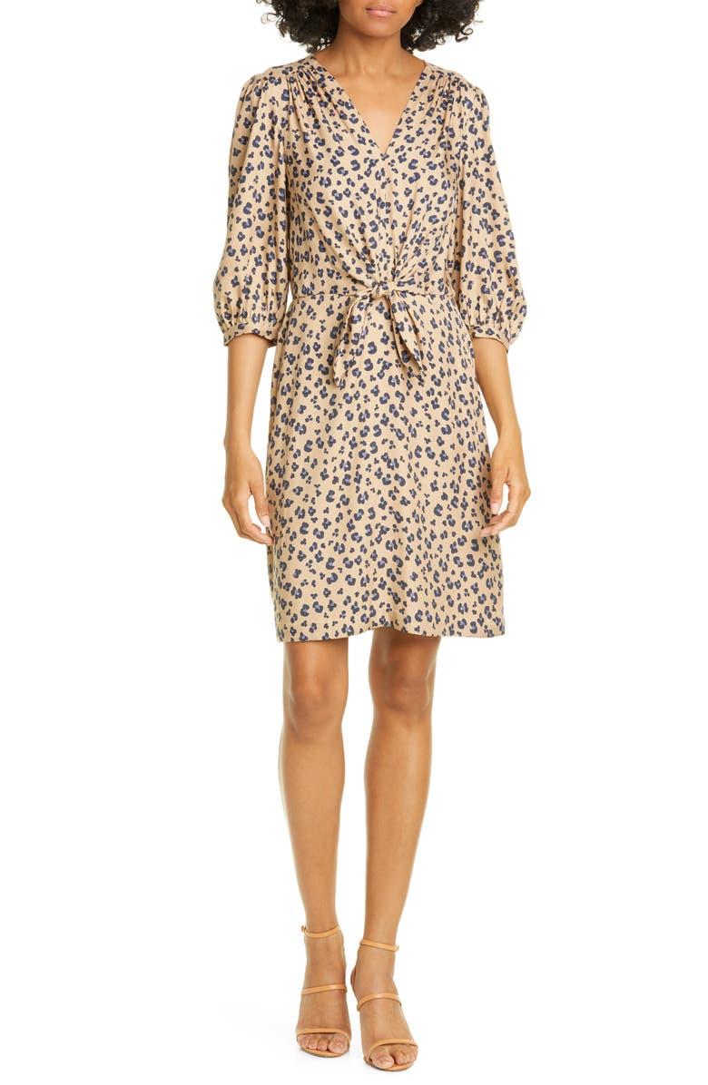 REBECCA TAYLOR Cheetah Print Dress, Main, color, 214