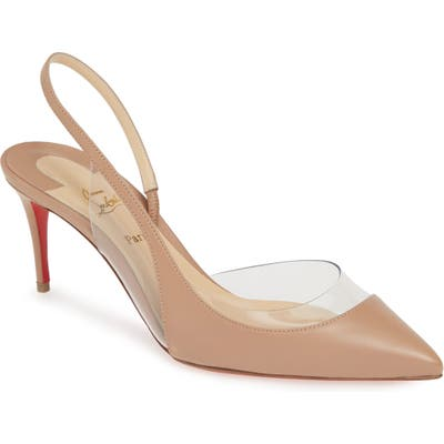 Christian Louboutin Optisexy Clear Slingback Pump, Beige