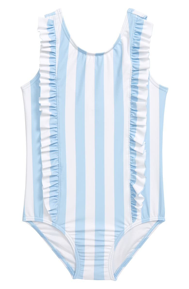 TUCKER + TATE Ruffle One-Piece Swimsuit, Main, color, BLUE FALLS- WHITE STRIPE