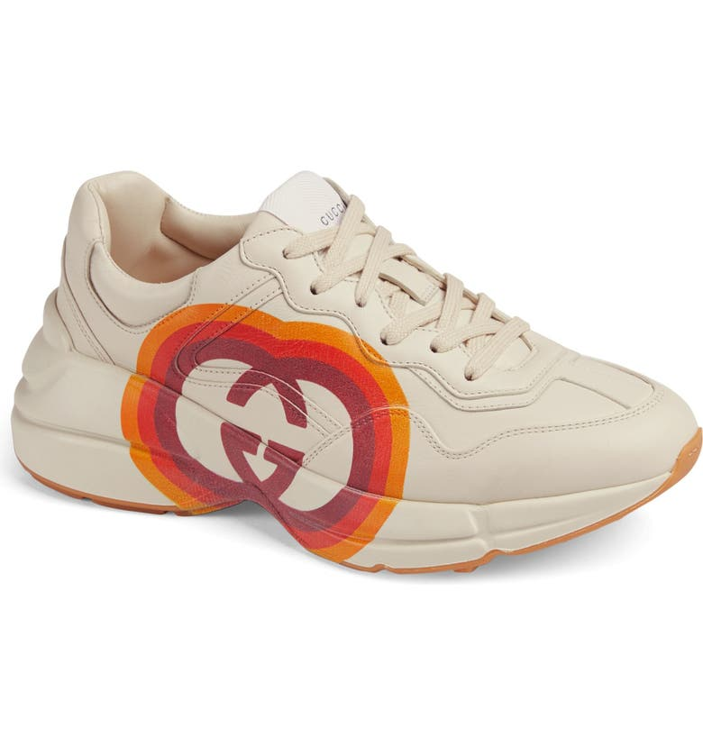 GUCCI Rhyton Double G Sneaker, Main, color, MYSTIC WHITE