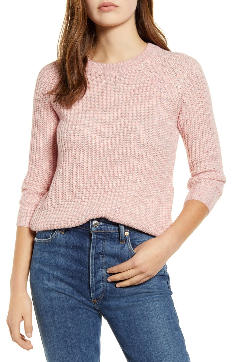 LUCKY BRAND Ellie Cotton Blend Shaker Stitch Sweater, Main, color, PINK MULTI