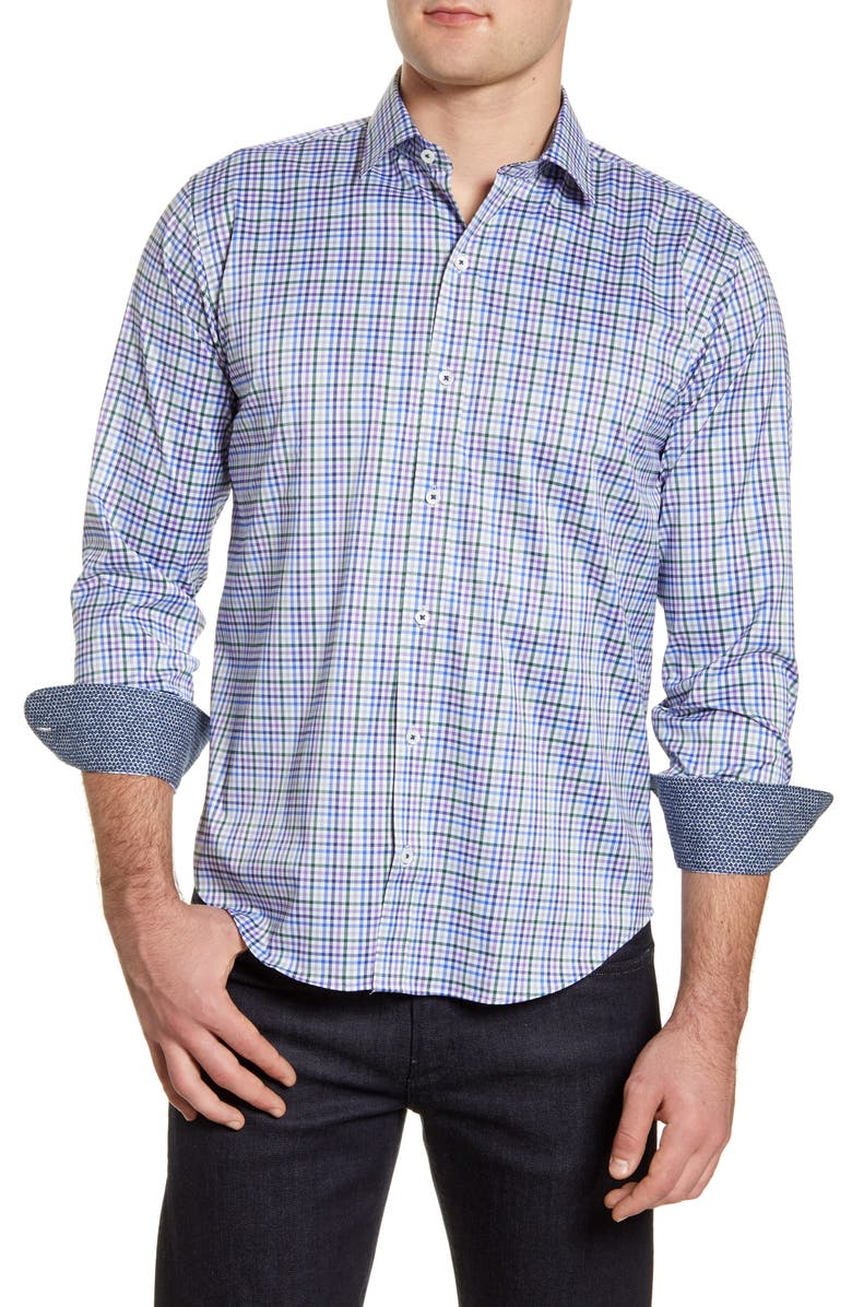 BUGATCHI Shaped Fit Check Button-Up Performance Shirt, Main, color, OLIVE