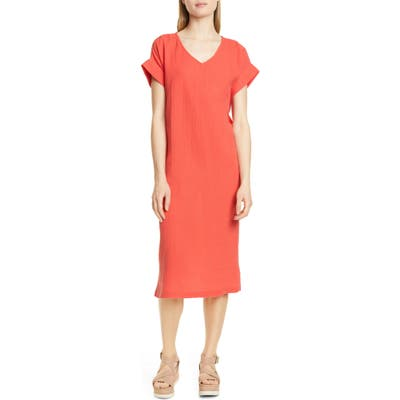 Eileen Fisher Organic Cotton Midi Dress, Red