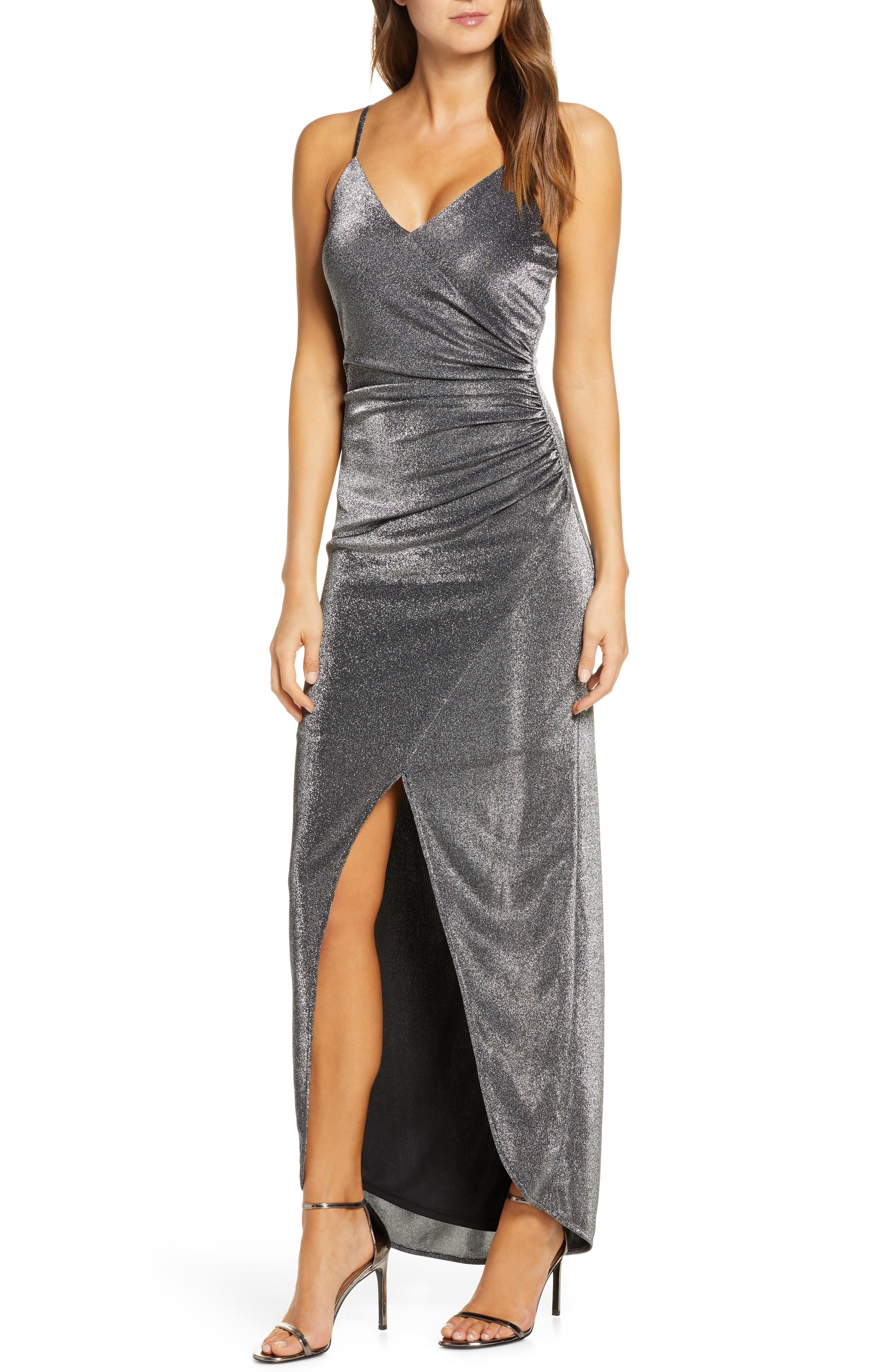 Vince Camuto Ruched Metallic Gown, Black