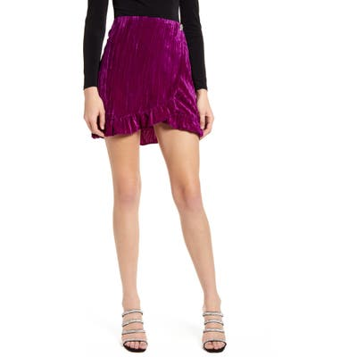 Topshop Velvet Wrap Miniskirt, US (fits like 10-12) - Purple