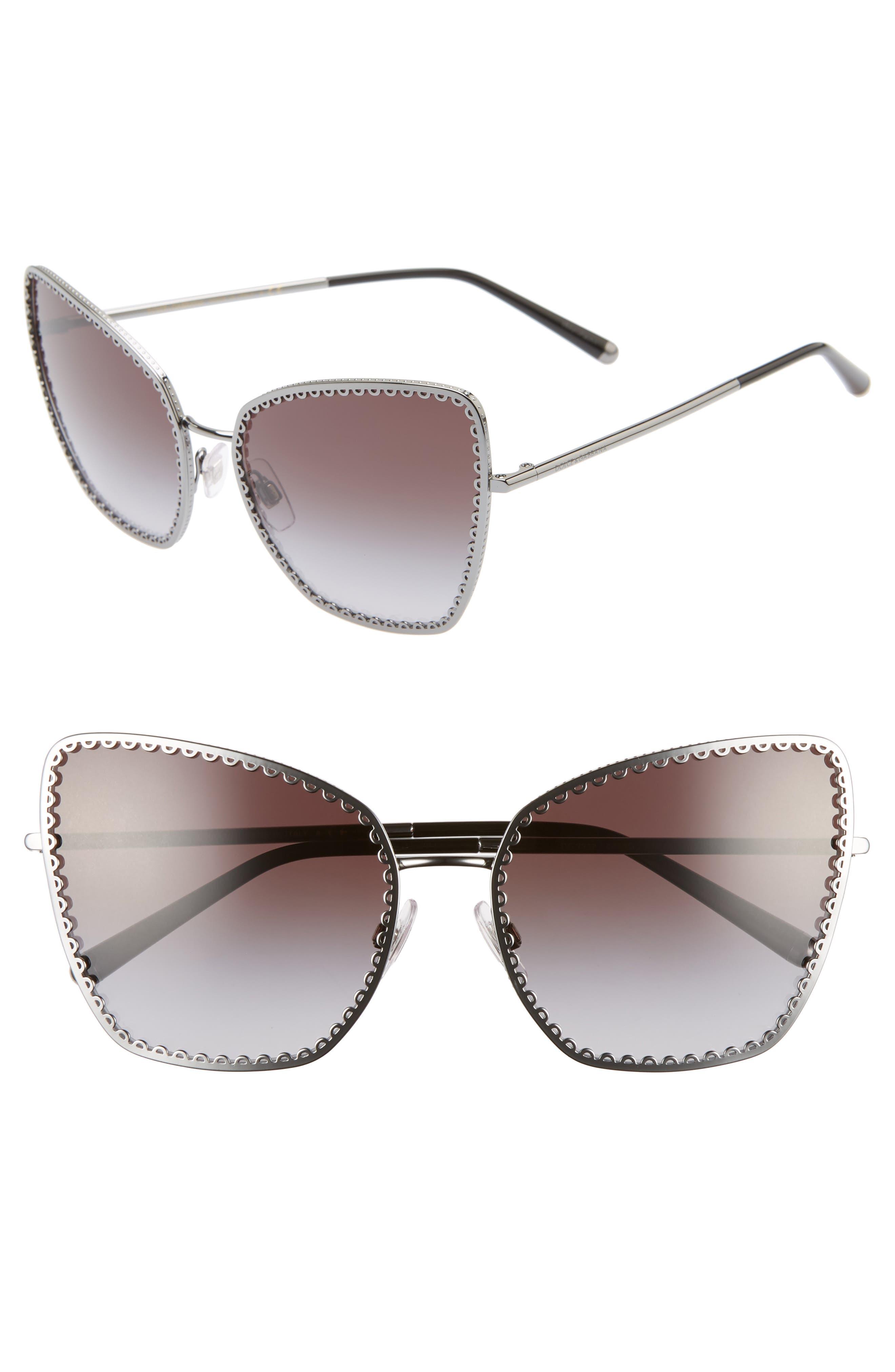 Dolce & gabbana Sacred Heart 61Mm Gradient Cat Eye Sunglasses - Gunmetal Gradient
