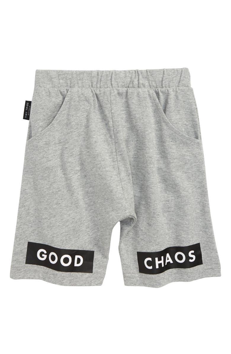 TINY TRIBE Good Chaos Fleece Athletic Shorts, Main, color, GREY MARLE