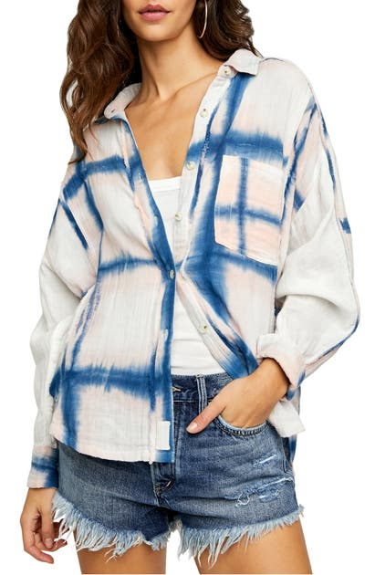 Free People WASHED AWAY PLAID BUTTON-UP SHIRT