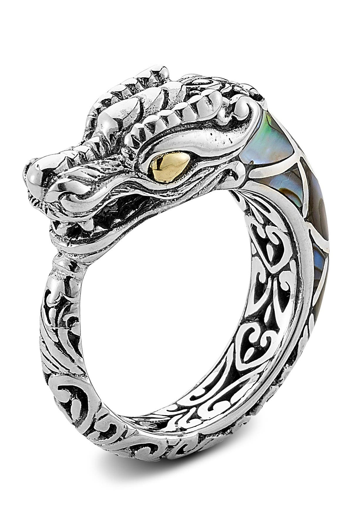 Image of Samuel B Jewelry Sterling Silver 18K Abalone Dragon Ring