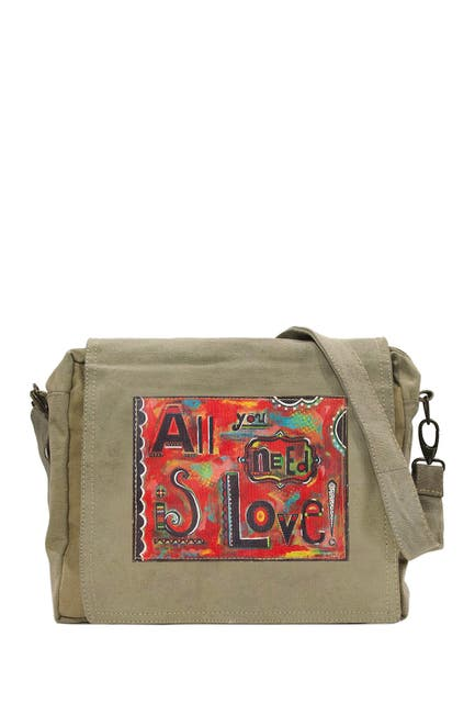 Image of Vintage Addiction All You Need Is Love Recycled Military Tent Crossbody Bag
