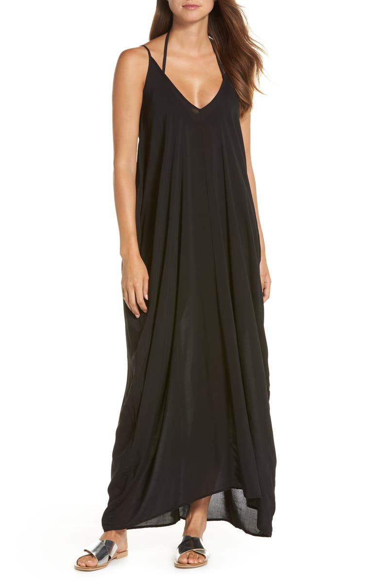 7979892ff3 V-Back Cover-Up Maxi Dress, Main, color, BLACK