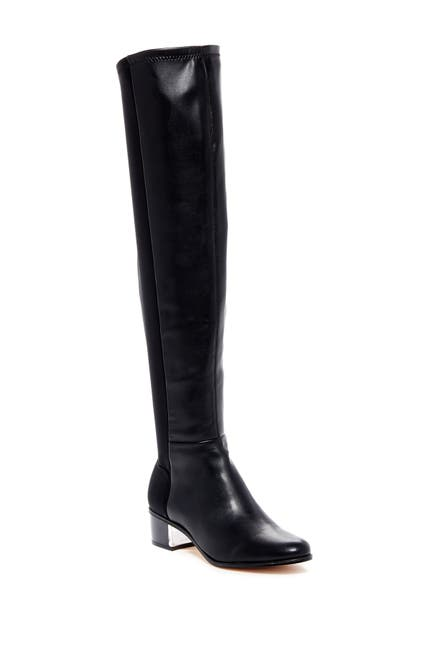 Image of CK CALVIN KLEIN Carney Stretch Nappa Leather & Neoprene Over-the-Knee Boot