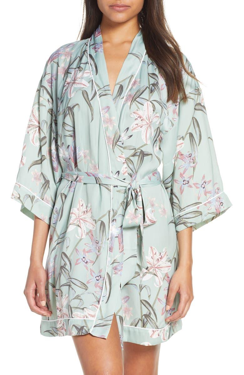 NORDSTROM LINGERIE Sweet Dreams Short Satin Robe, Main, color, TEAL JADEITE TROPICAL FLORAL