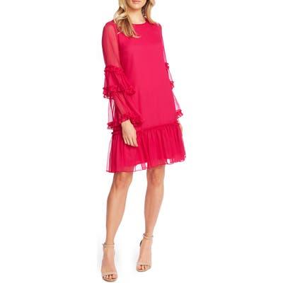 Cece Ruffle Chiffon Shift Dress, Pink