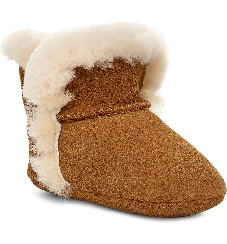 UGG<SUP>®</SUP> Lassen Genuine Shearling Crib Shoe, Main, color, CHESTNUT