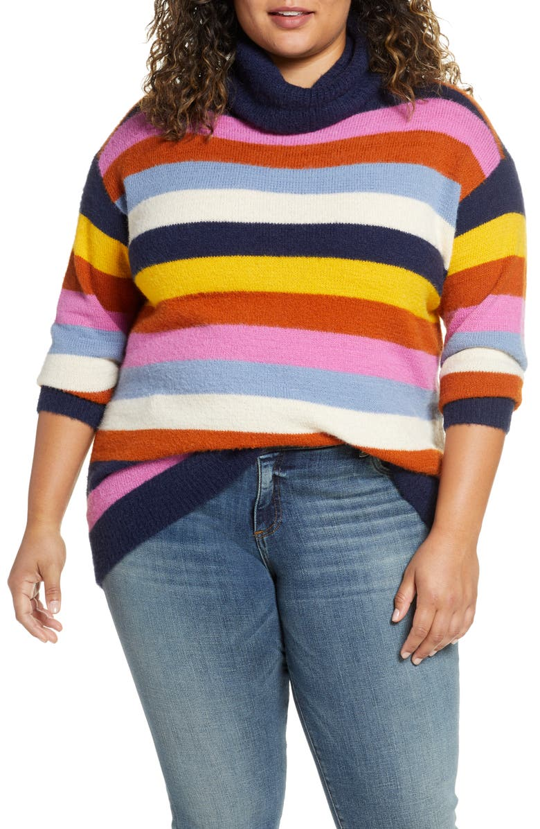 CASLON<SUP>®</SUP> Turtleneck Sweater, Main, color, NAVY PINK COZY STRIPE