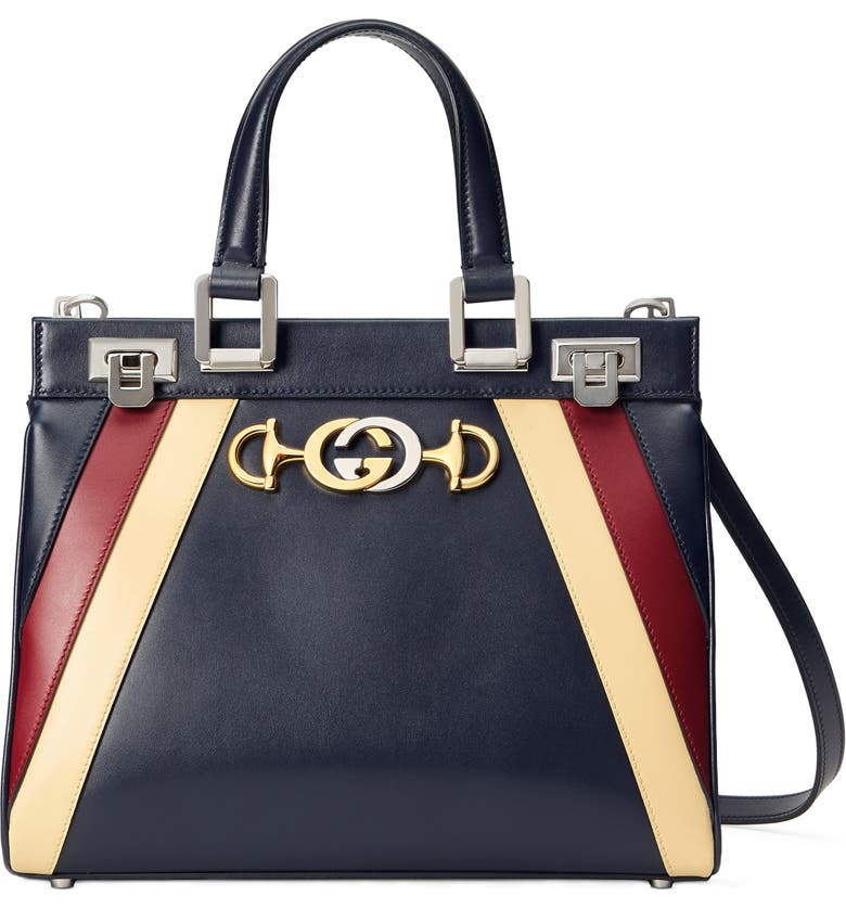 GUCCI Small Zumi Tricolor Leather Top Handle Bag, Main, color, BLUE/ ROMANTIC CERISE/ BUTTER