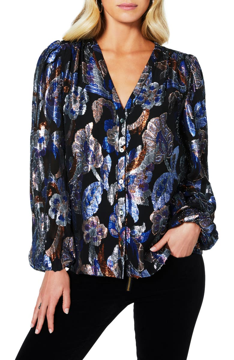 RAMY BROOK Trey Metallic Jacquard Silk Blouse, Main, color, MULTI