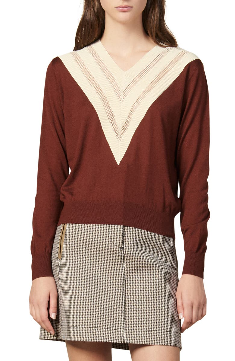 SANDRO Jone Mesh Inset Wool Blend Sweater, Main, color, BROWN