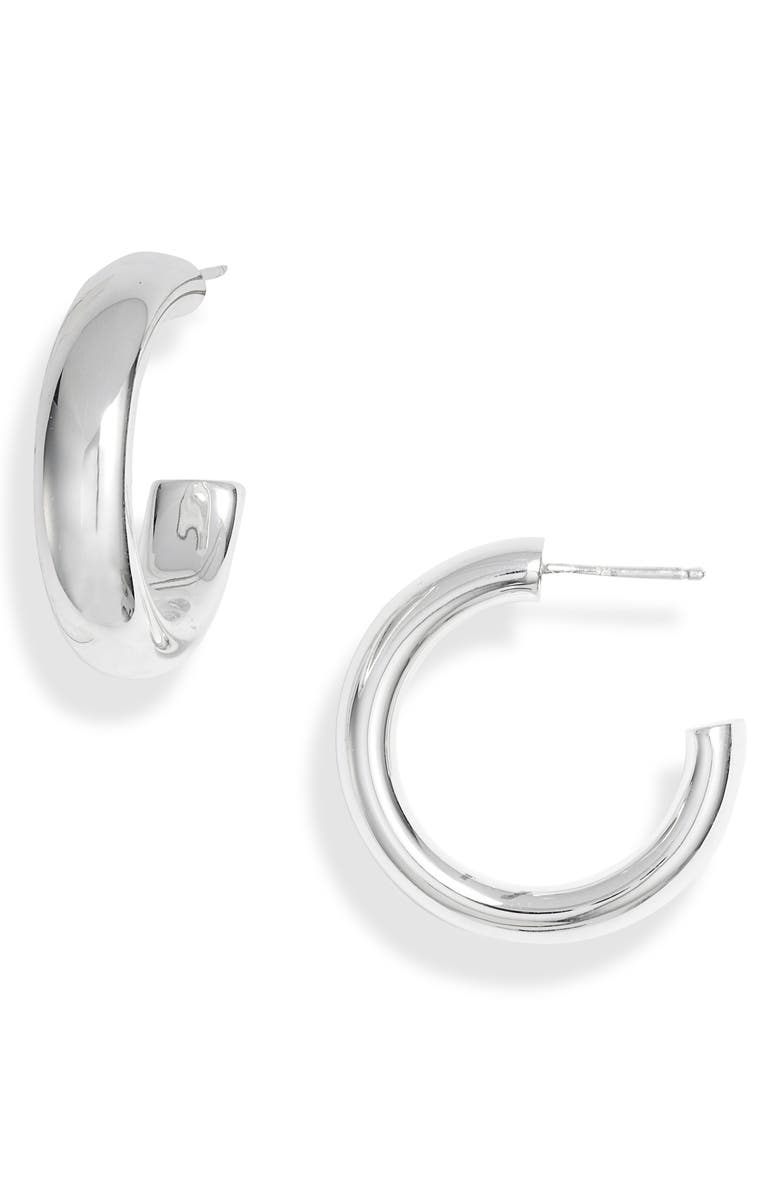ARGENTO VIVO Medium Chunky Hoop Earrings, Main, color, SILVER