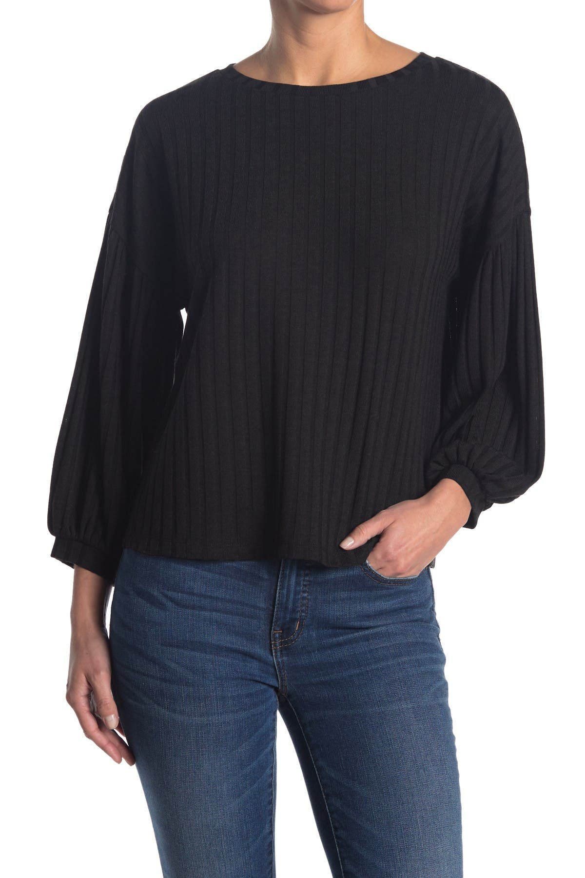 Image of Chenault Wide Rib Puff Sleeve Boxy Top