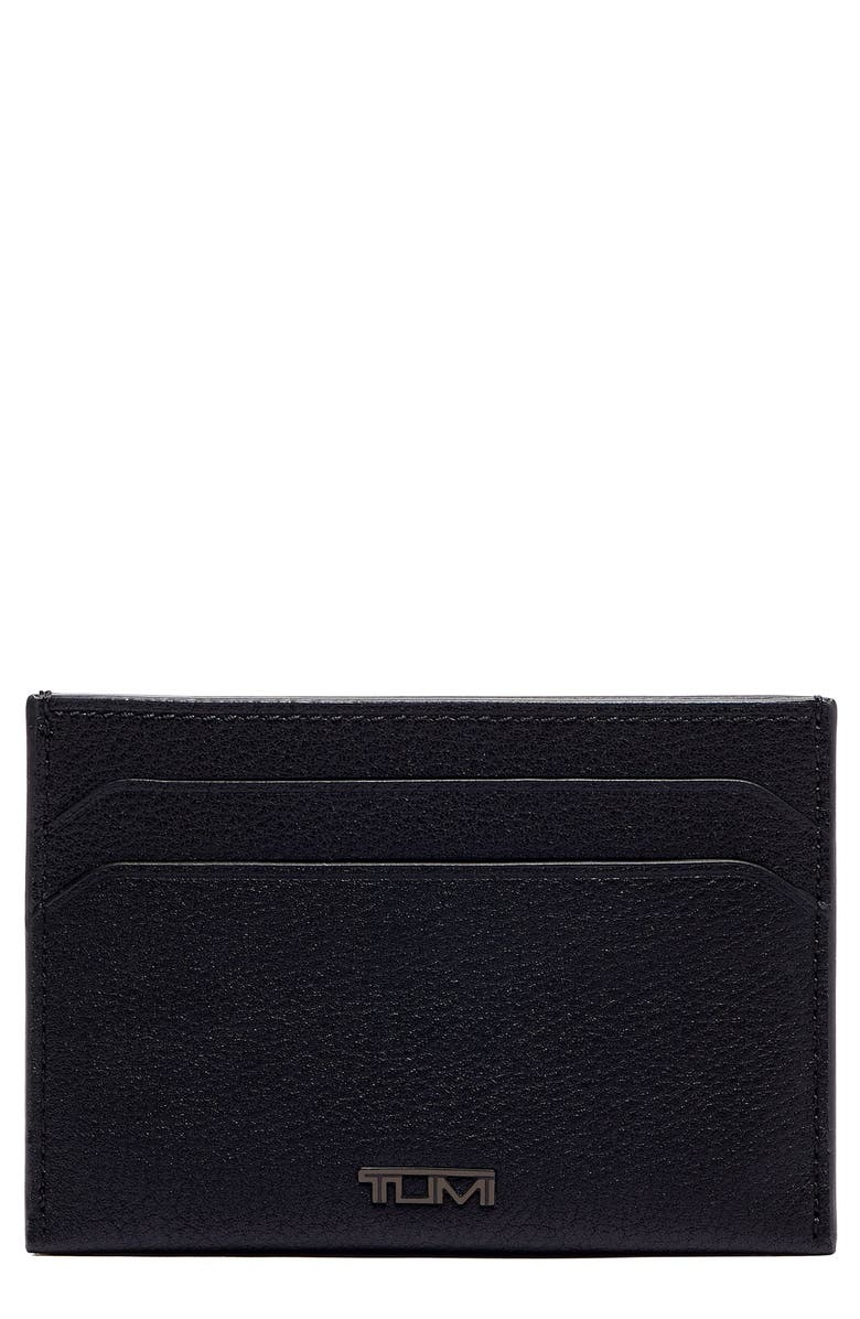 TUMI Nassau Slim Leather Card Case, Main, color, BLACK TEXTURED