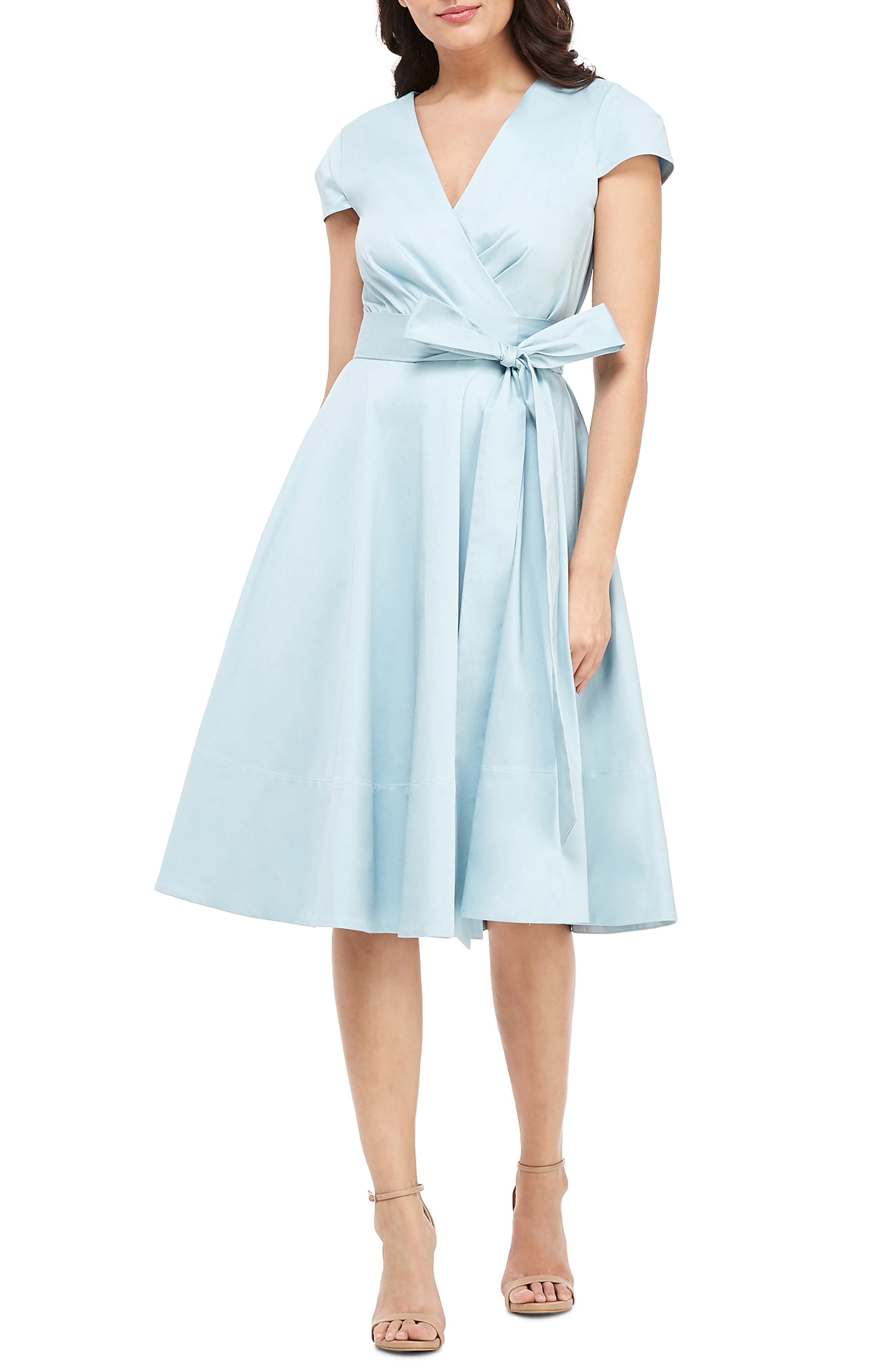 Gal Meets Glam Collection Addison Cotton Tie Waist Fit & Flare Wrap Dress, 8 (similar to 1) - Blue