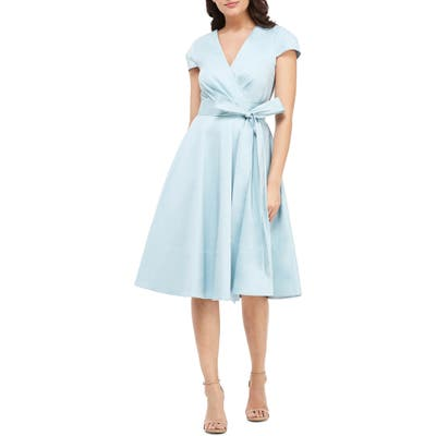 Gal Meets Glam Collection Addison Cotton Tie Waist Fit & Flare Wrap Dress, Blue