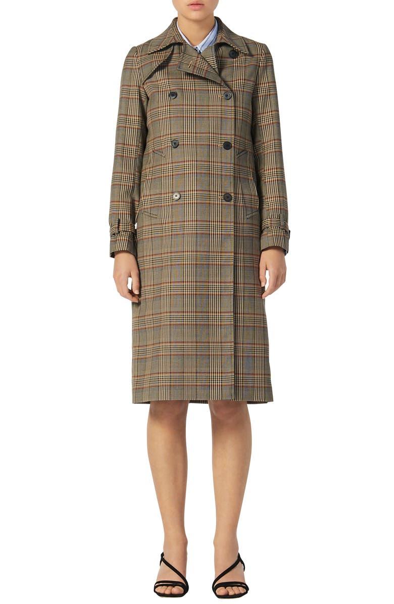 SANDRO Check Plaid Trench Coat, Main, color, MULTI COLOR