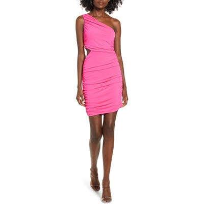 Leith One-Shoulder Body-Con Dress, Pink
