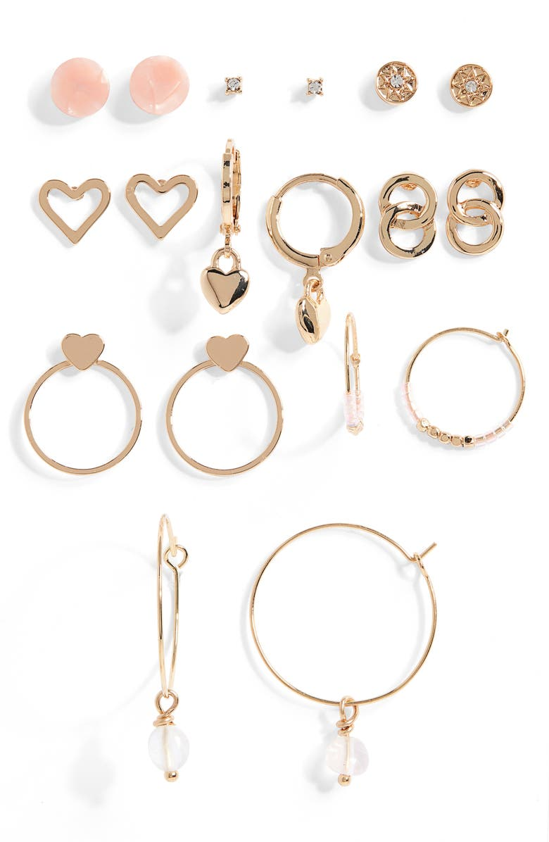 BP. Set of 9 Heart & Huggie Earrings, Main, color, GOLD- MULTI