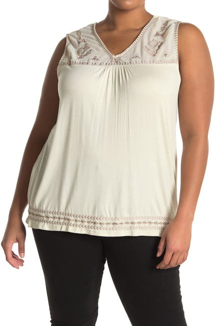 Image of Forgotten Grace Embroidered V-Neck Tank Top