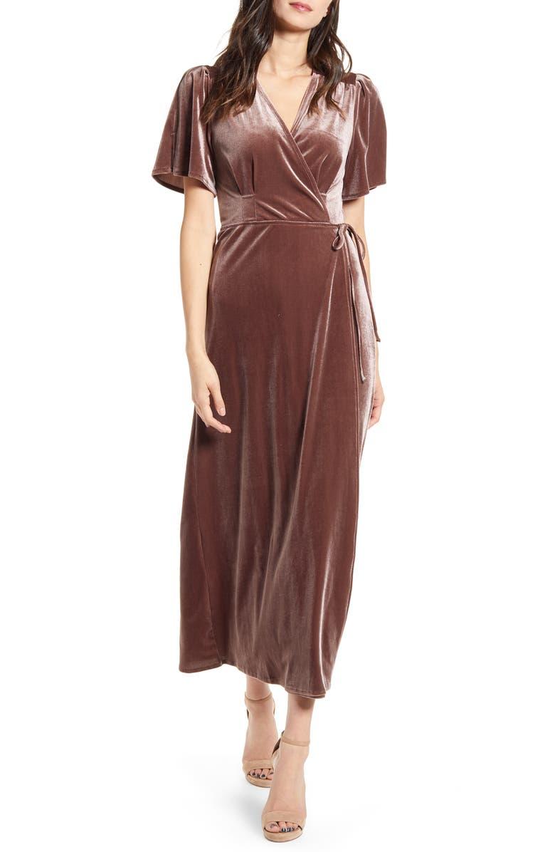 ALL IN FAVOR Tie Front Velvet Wrap Dress, Main, color, ASH LAVENDER