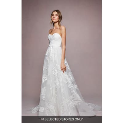 Marchesa Notte Mae Embroidered Strapless A-Line Wedding Dress, Size - Ivory