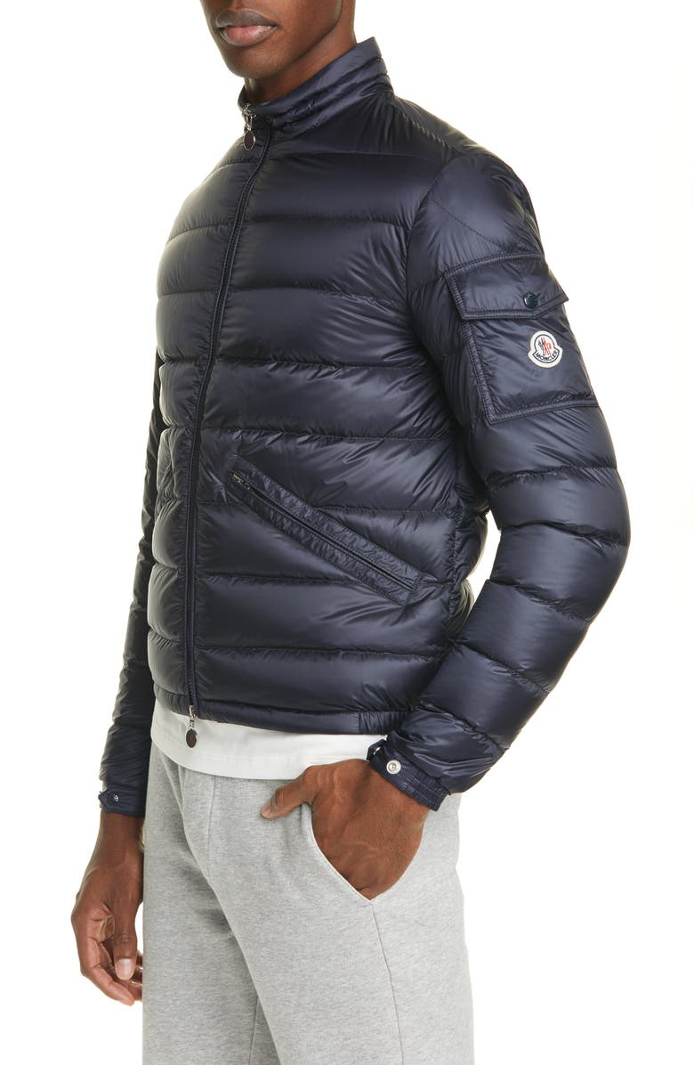 MONCLER Quilted Nylon Down Jacket, Main, color, BLUE