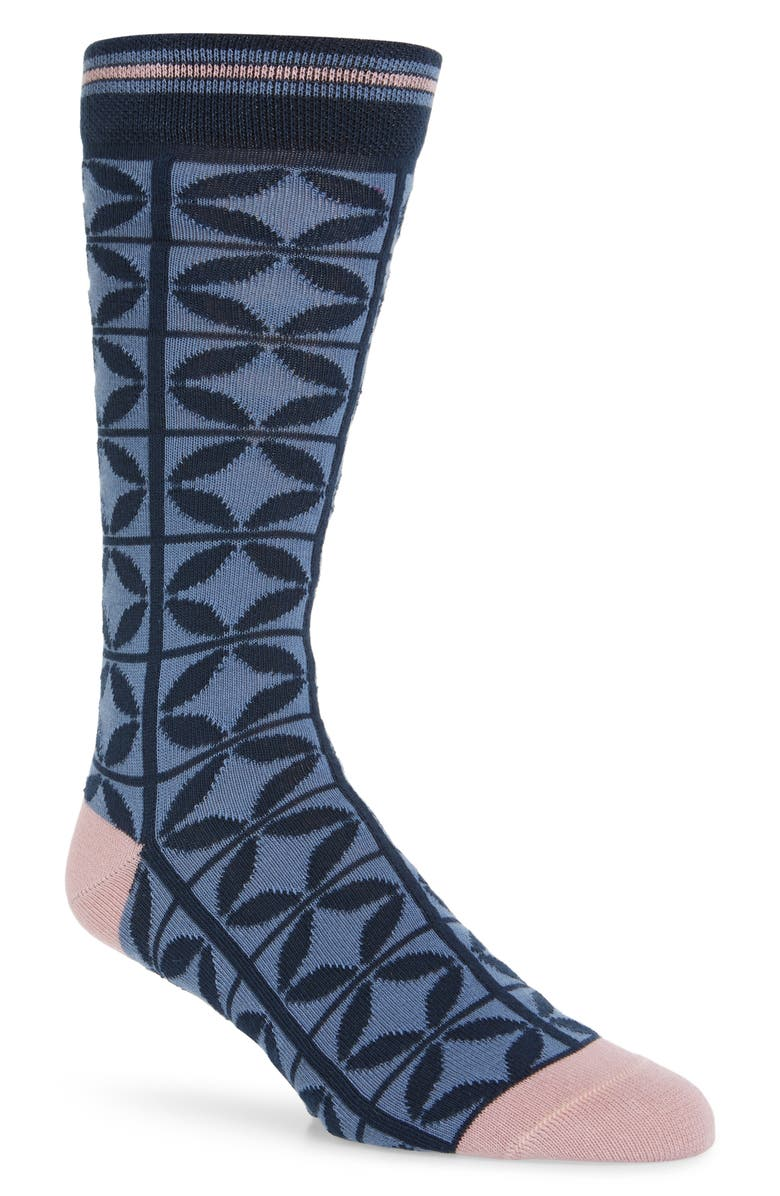 TED BAKER LONDON Papaver Geometric Socks, Main, color, 410